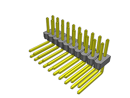 2 Rows, TSW Series 2.54 mm Pack of 10 Through Hole Board-To-Board Connector Header TSW-110-20-S-D 20 Contacts